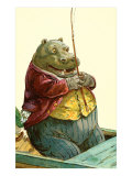 Hippo in Three-Piece Suit Fishing Posters