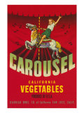 Carousel Vegetable Crate Label Prints