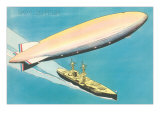 Navy Zeppelin over Ship Posters