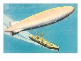 Navy Zeppelin over Ship Posters