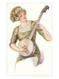 Lady Playing Banjo Prints