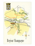 Map of Champagne Region of France Prints