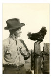 Farmer Talking to Rooster Poster