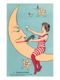 Woman Giving Wine to Moon Psters
