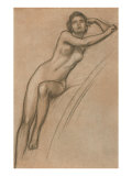 Conte Drawing of Nude Woman Prints