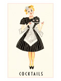 French Maid Serving Cocktails Prints