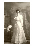 Woman in White Tiered Gown Posters