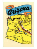 Map of Arizona, the Grand Canyon State Prints