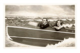 Couple in Pretend Speedboat Poster