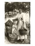 Woman Carrying Baskets of Grapes Prints