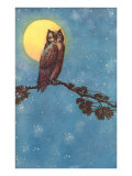 Owl with Full Moon Art
