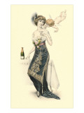 Woman Sampling Champagne with Cupid Posters