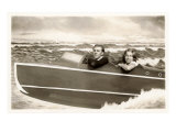 Couple in Pretend Speedboat Prints