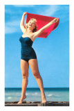 Woman in Blue One-Piece with Red Towel Posters