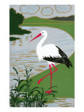 Stork by River Poster
