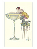 Lady Climbing into Champagne Glass Art
