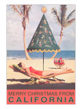 Conical Umbrella, Palm Trees, Beach Affiches