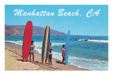 Surfers at Manhattan Beach Prints