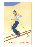 Girl Skiing, Lake Tahoe Giclee Print