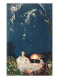 Two Women Sitting at Table Under Fireworks Posters
