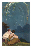 Two Woman Sitting by Lake under Fireworks Print