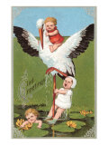Victorian Babies with Stork Affiche