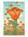 Illustration of Poppy with Head Inside, Calfironia Poster