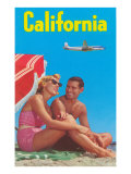 Couple on Beach with Airplane in Sky Poster