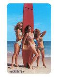 Three Woman Surfers in Bikinis Greetings from Ventura Prints