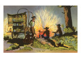 Cowboys at Campfire by Chuckwagon Posters