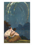Two Woman Sitting by Lake under Fireworks Prints