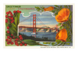 Greetings from California with Golden Gate Bridge and Poppies Posters