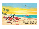 Santa Claus in Inner Tube at Beach Prints