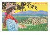Woman Holding Almonds, California Art