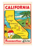 Cartoon Map of California Prints