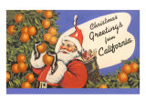 Santa Claus in Orange Orchard Print