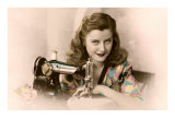 Sly Lady with Sewing Machine Print