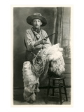 Young Cowboy with Woolly Chaps Poster