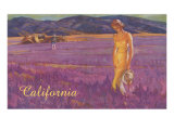 Woman in Field of Purple Flowers, California Prints