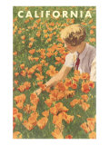 Woman Sitting in Poppies, California Poster