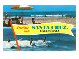 Beach and Surfing Greetings from Santa Cruz Art