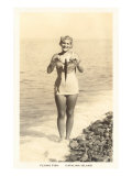 Bathing Beauty Holding Flying Fish, Catalina Prints