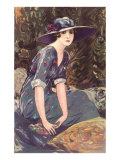 Victorian Woman in Hat Drawing Poster