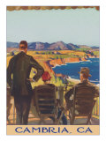 Three People Looking over Coastline, Cambria Poster