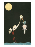 Stork Hanging Baby over Moonlit Water Posters