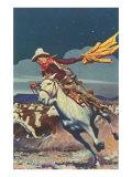 Cowboy with Stampede Kunstdruck