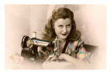 Sly Lady with Sewing Machine Posters