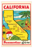 Cartoon Map of California Poster