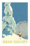 Big Snowy Pine Tree and Skier, Bear Valley Prints