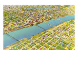 Aerial View of Little Rock, Arkansas Posters